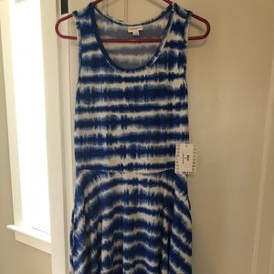 Lularoe Blue Tie Dye Nicki Dress Medium